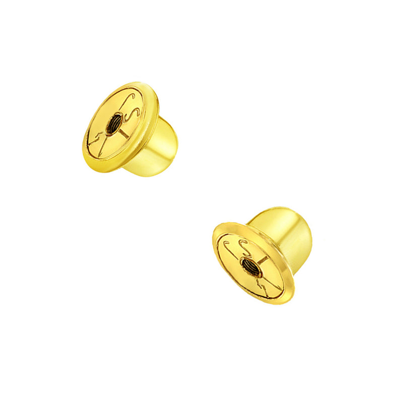 Replacement Pair (2) 14k Yellow Gold Earring Screw Backs Fits In Season Jewelry