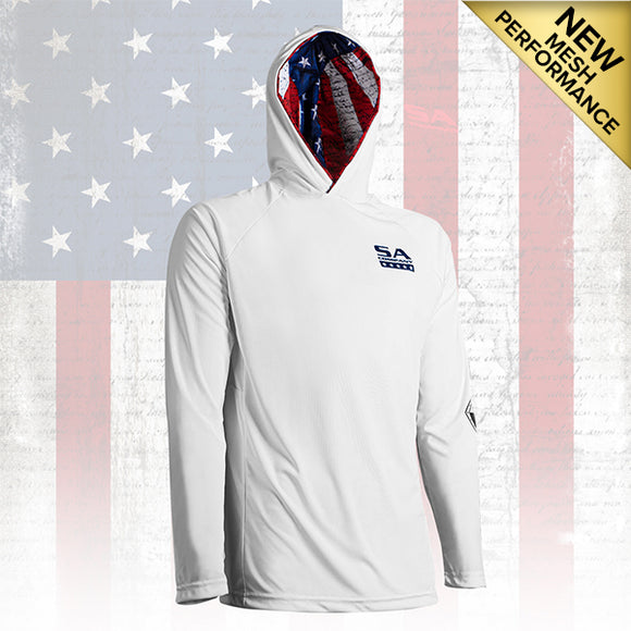 HOODED PERFORMANCE LONG SLEEVE SHIRT W/MESH | WHITE | INNER HOOD-AMERICAN FLAG