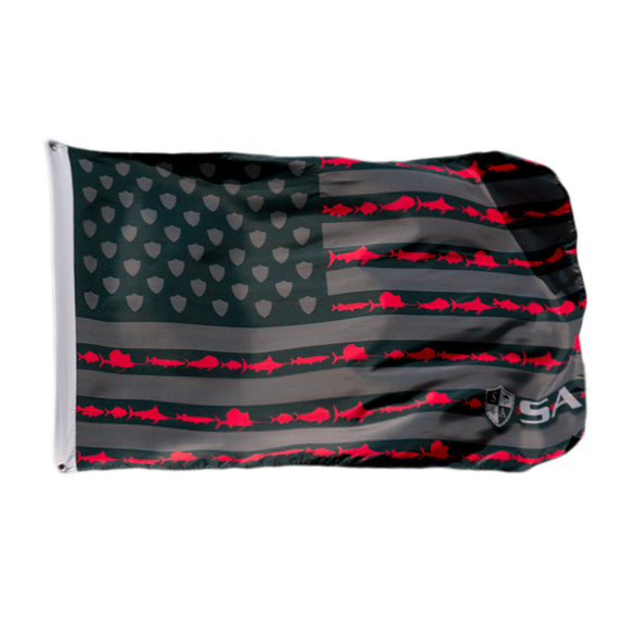 SA CO. FLAG | BLACKOUT/RED FINS & STRIPES