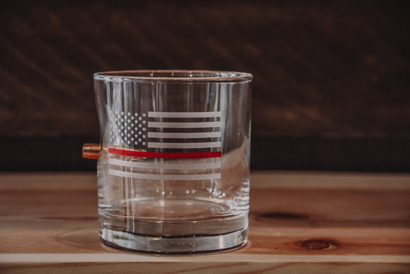 Benshot Thin Red Line Rock Glass