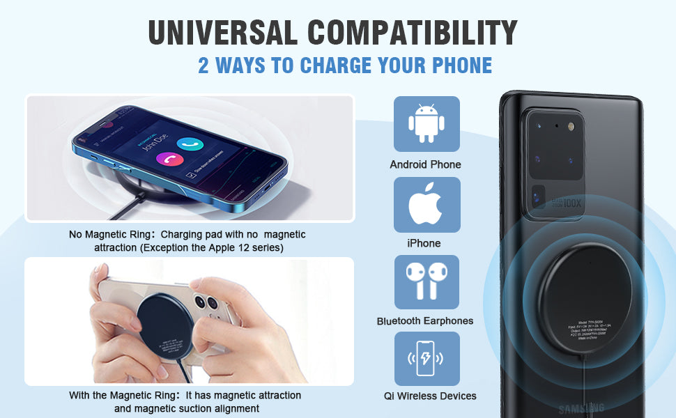 Magnetic Wireless Charger with Magnetic Ring, DBPOWER 15W Max Fast Qi Wireless Charger with Type C&USB A Port Compatible with iPhone 12/11/SE 20, AirPods Pro, Galaxy Note 10/9/8,/S10/S9(No AC Adapter)