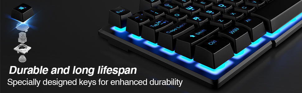 DBPOWER Gaming Keyboard with 3 Colors Breathing LED Backlit