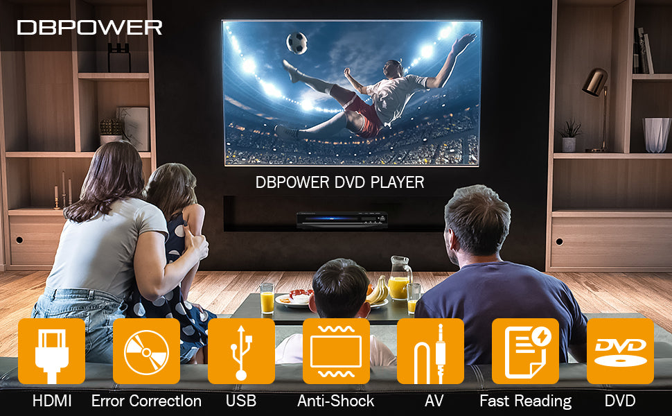 DBPOWER DVD Player for TV, Home DVD CD Player with HD 1080p Upscaling, HDMI & AV Output (HDMI & AV Cable Included)
