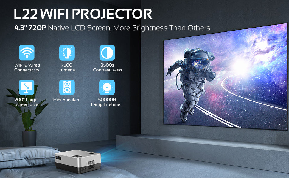 DBPOWER L22 WIFI Projector, 7500L Full HD 1080p Video Projector with Carry Case