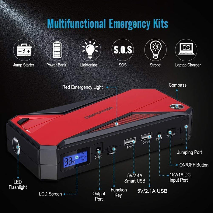 DBPOWER 800A Peak 18000mAh Portable Car Jump Starter - DBPOWER