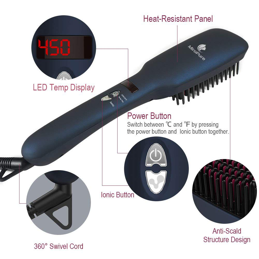 Upgraded Ceramic Ionic Hair Straightener Brush for All Hair Types with 60s Heat Up - ValueLink Shop