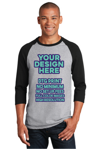 DTG Print - Mens Raglan Shirt - No Minimum