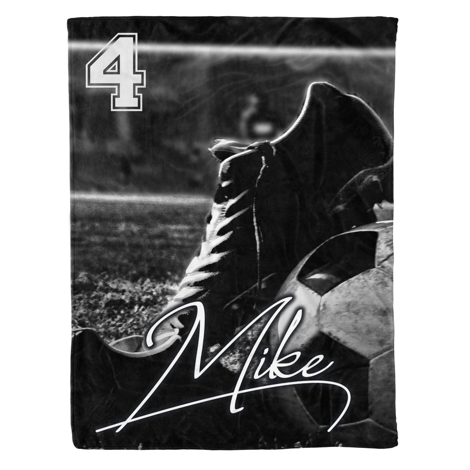 Soccer Shoes and Ball Fleece Blanket