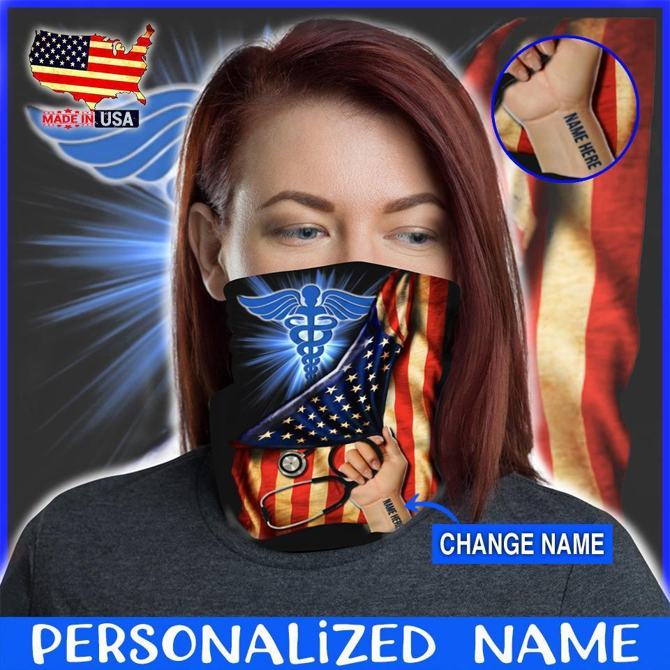 Custom Face Gaiter Cover Nurse Flag Personalized Name ( Printed in USA ) - Face Gaiter Cover