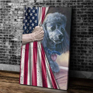 American Flag Poodle Dog Matte Canvas