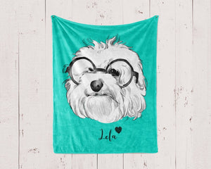 Custom Pet Portrait Blanket, Custom Dog Blanket, Dog Portrait Gift, Cat Blanket, Pet Blanket, Pet Portrait Gift, Personalized Dog Blanket- Anniversary Birthday Christmas Housewarming Gift Home
