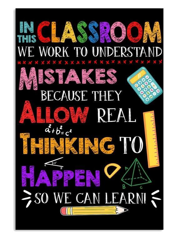 Math Classroom Canvas - Back to school Vertical Canvas - teacher canvas - Gift for Birthday, Labor day