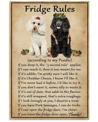 Fridge Rules Poodle Print Canvas Wall Art Home Sign Anniversary Birthday Christmas Housewarming Gift Home