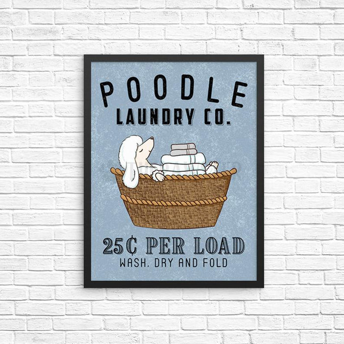 White Poodle Dog Laundry Wall Decor, Wash Dry Fold Laundry Art Print, Dog Wall Art, Laundry Room Sign, Vintage Poster Laundry Room Decor