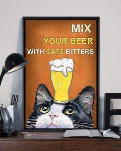 Tuxedo Cat Canvas Wall Art - Mix your beer with cats bitters - Anniversary Birthday Christmas Housewarming Gift Home