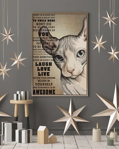 Sphynx Cat Canvas Wall Art - Sphynx to be awesome - Anniversary Birthday Christmas Housewarming Gift Home