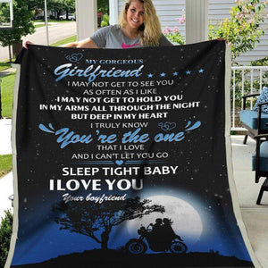 Girlfriend Blanket To my gorgeous girlfriend I may not get to see you as often as I like Biker couple - Fleece Blanket - Family Presents