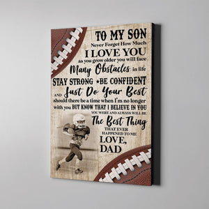 Football - To my son Custom Canvas Prints With Photo