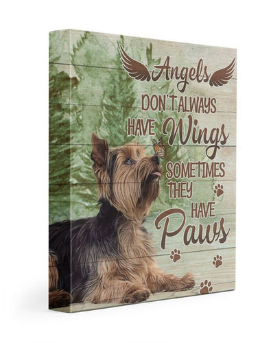 Angels sometimes have paws Yorkshire Terrier Gallery Wrapped Canvas Prints