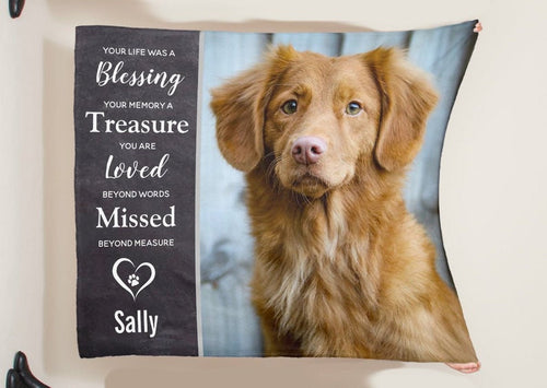 Personalized Blanket - Pet Memorial Blanket- Dog Memorial Cat Memorial - Anniversary Birthday Christmas Housewarming Gift Home