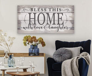 Bless This Home With Love Canvas Wall Art - Housewarming Gift Living Room Decor -  Anniversary, Birthday, Valentine, Christmas gift