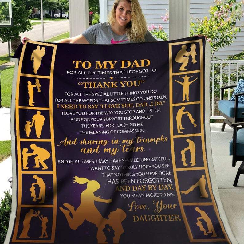 Dad & Daughter Blanket, Blanket for Dad, Blankets for Fathers, Family Blanket - Fathers' Day Gift, Daughter to Dad, Gift for Dad