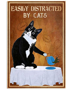 Tuxedo Cat Canvas Wall Art - Easily distracted by cats- Anniversary Birthday Christmas Housewarming Gift Home