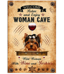 Yorkshire Terrier Woman Cave Vertical Canvas - Wild woman with wine and yorkies