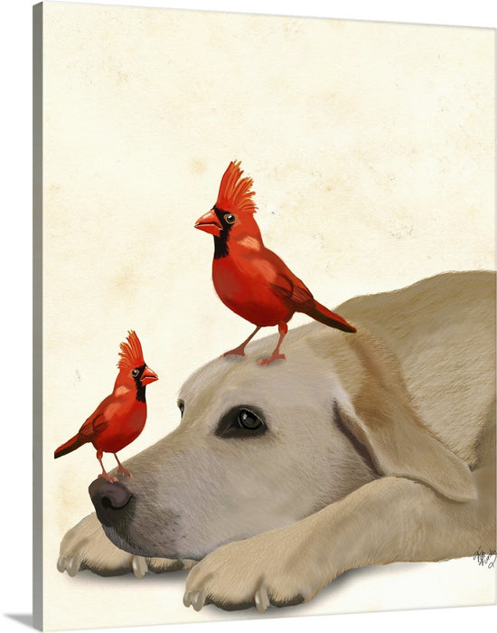 Labrador with Red Birds Wall Art Canvas