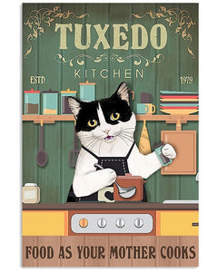 Tuxedo Cat Canvas Wall Art - Food as your mother cooks  - Anniversary Birthday Christmas Housewarming Gift Home