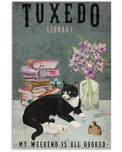 Tuxedo Cat Canvas Wall Art - My weekend is all booked  - Anniversary Birthday Christmas Housewarming Gift Home