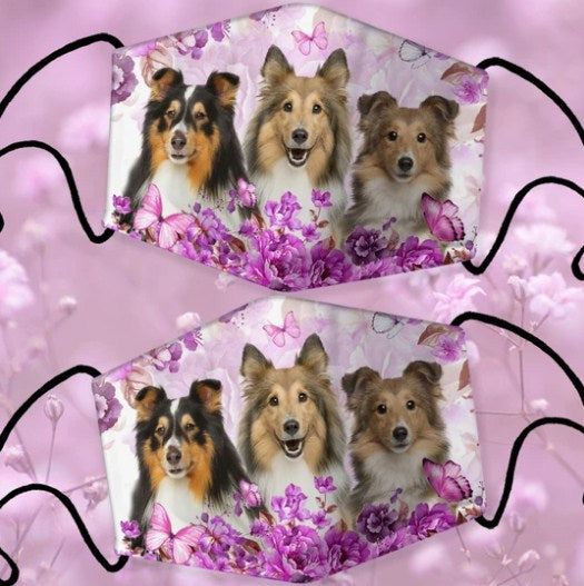 SHEEPDOG BORDER COLLIE PURPLE FLOWERS CLOTH MASK