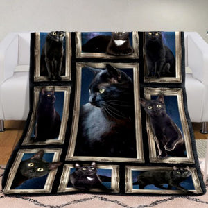 3D Black Cat Fleece Blanket -  Anniversary Birthday Christmas Housewarming Gift Home