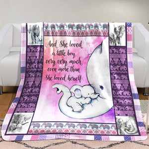 Elephant Blanket  - And she loved a little boy very very much - Anniversary Birthday Christmas Housewarming Gift Home