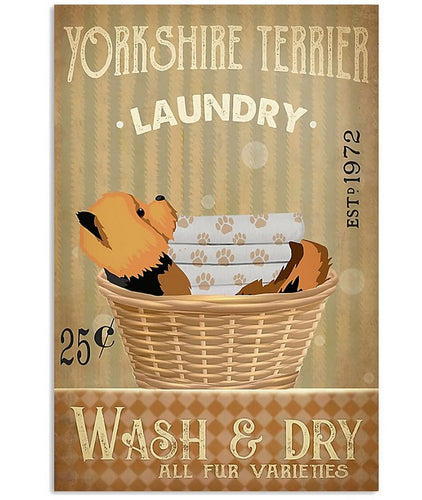 Laundry Yorkshire Terrier Vertical Canvas