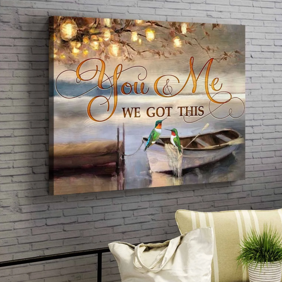 Canvas - Hummingbird - You&Me We got this v2 Wall Art Canvas - Gift for Husband/Wife - Anniversary, Birthday, Valentine, Christmas gift -Custom your names