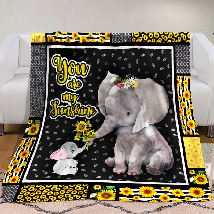 Elephant Blanket  - You are my sunshine - Anniversary Birthday Christmas Housewarming Gift Home