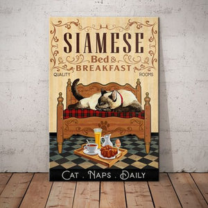 Siamese Cat Bedroom Canvas -  Anniversary Birthday Christmas Housewarming Gift Home