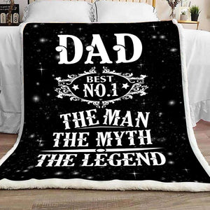 Father Blanket - Dad the man the myth the legend - Fleece Blanket - Family Presents