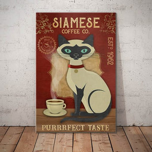 Siamese Cat Coffee Company Canvas - Purrrfect Taste-  Anniversary Birthday Christmas Housewarming Gift Home
