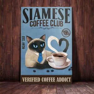 Siamese Cat Coffee Company Canvas - Verified Coffee Addict -  Anniversary Birthday Christmas Housewarming Gift Home