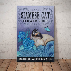 Siamese Cat Flower Shop Canvas - Bloom with grace -  Anniversary Birthday Christmas Housewarming Gift Home