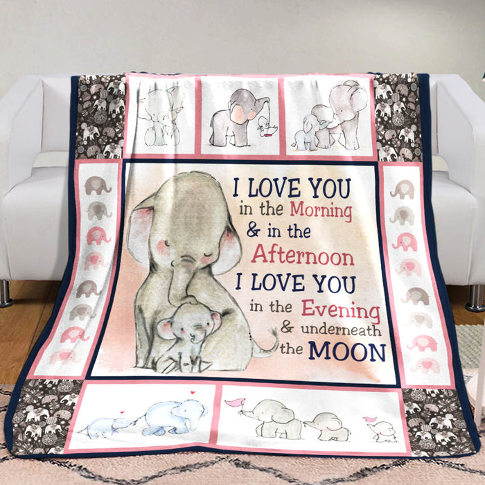Elephant Blanket  - I love you in the morning and in the afternoon - Anniversary Birthday Christmas Housewarming Gift Home