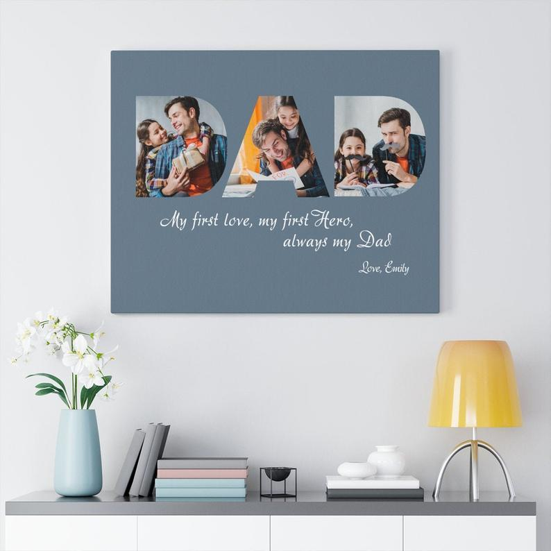 Custom Dad Photo Canvas Print, Father's Day Gift, Personalized Canvas Quotes