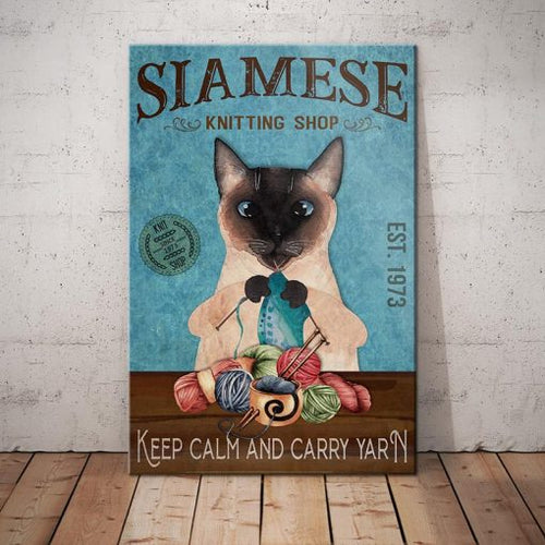 Siamese Cat Knitting Shop Canvas  -Keep calm and carry yarn -  Anniversary Birthday Christmas Housewarming Gift Home