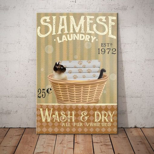 Siamese Cat Laundry Company Canvas - Wash and dry -  Anniversary Birthday Christmas Housewarming Gift Home