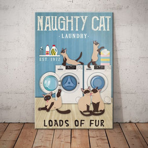 Siamese Cat Laundry Company Canvas - Loads of fur -  Anniversary Birthday Christmas Housewarming Gift Home