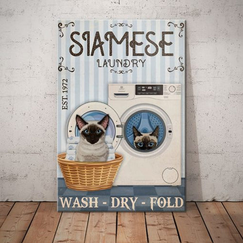 Siamese Cat Laundry Company Canvas - Wash Dry Fold -  Anniversary Birthday Christmas Housewarming Gift Home