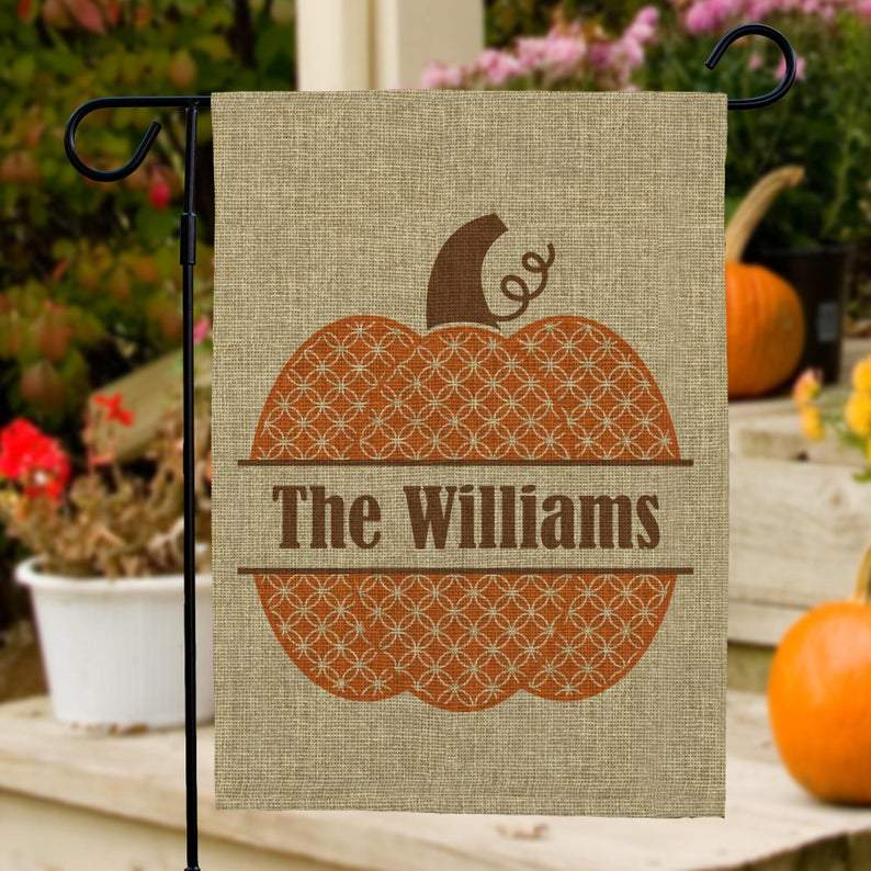 Fall Garden Flag Personalized, Burlap Garden Flag, Yard Decor, Pumpkin Flag, Fall Decor, Halloween Decoration, Thanksgiving