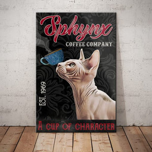 Sphynx Cat Coffee Company Canvas - A cup of character - Anniversary Birthday Christmas Housewarming Gift Home